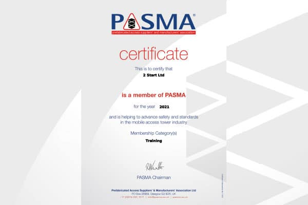 PASMA Accredited Certificate